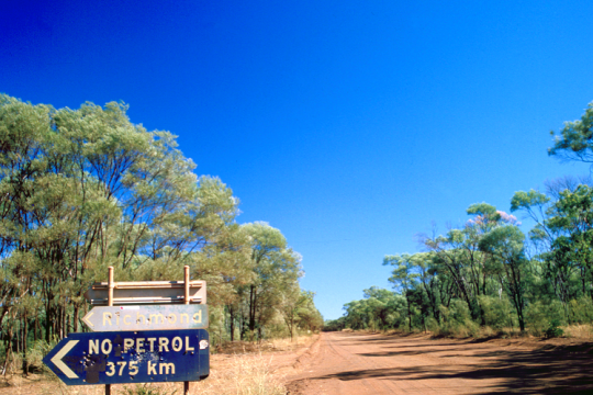Road signs are a reminder of the remoteness of the area between Georgetown and Croydon Queensland 1989