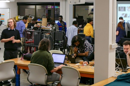 A busy evening in the Clean Lab during the Hack the Evening meetup