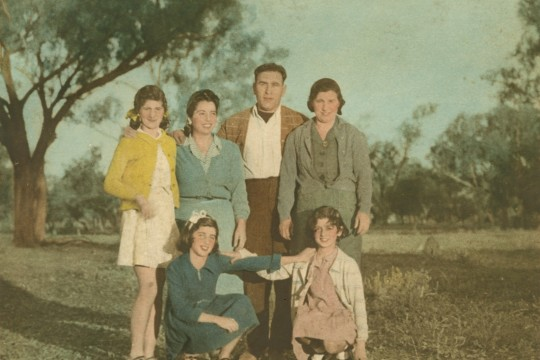 Irene Andronicus and her daughters with Mr and Mrs Cassimatis Cunnamulla ca 1940s