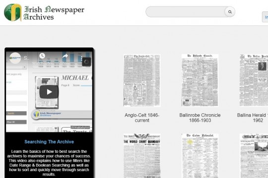 Irish Newspaper Archive database home page