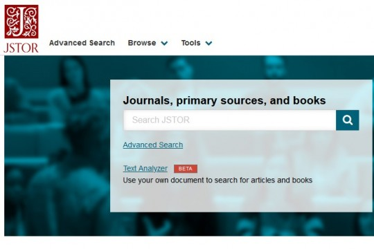 Image of JSTOR database home page
