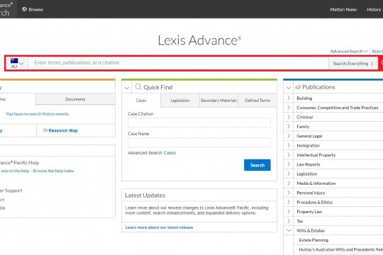 Image of Lexis Advance database home page
