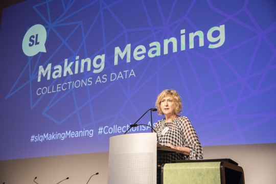 Vicki McDonald on stage at Making Meaning
