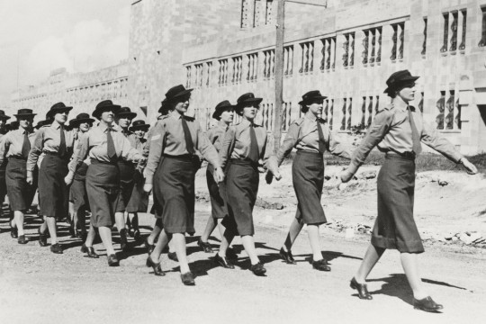 Members of AWAS march in formation in front of the Duhig Building University of Queensland St Lucia Campus Brisbane