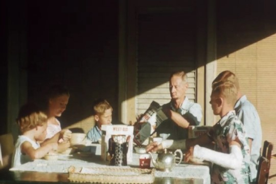 Members of the Bennett family having their morning breakfast Fairthorpe Auchenflower ca 1956