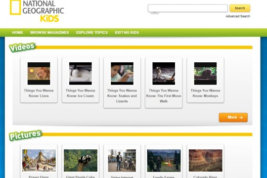 Image of National Geographic Kids database home page