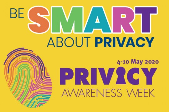 A graphic showing an advertisement for Privacy Awareness Week featuring a fingerprint