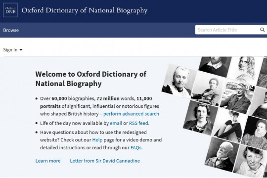 Image of Oxford Dictionary of National Biography database