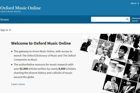 Image of Oxford Music Online database home page