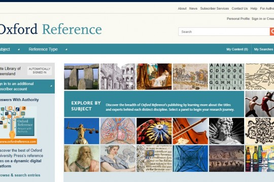 Oxford Reference database home page