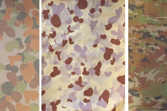 Three different types of camouflage on fabric of military uniforms