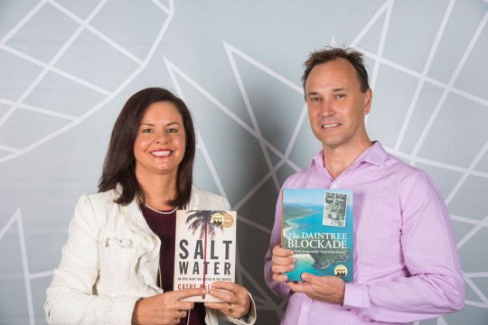 Cathy McLennan and Bill Wilkie with their Queensland Literary Awards books