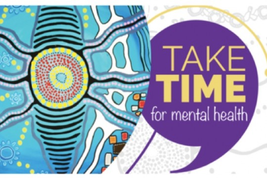 A blue yellow and purple logo saying Take time for mental health