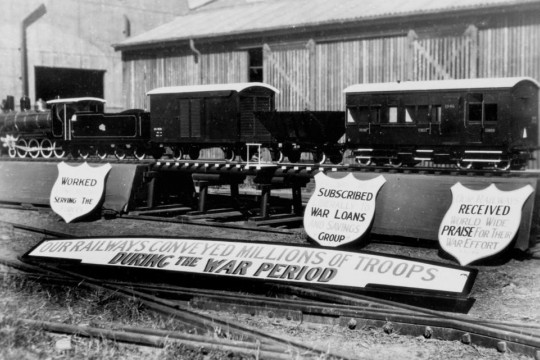 Railway model erected for the Victory Celebrations Townsville ca 1945