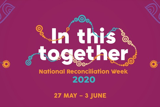 Purple background of Indigenous artwork for National Reconciliation Week banner