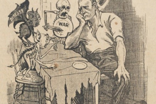 Cartoon of unhappy man sitting at a table with five devil-like characters representing poverty disease war debt and unemployment The title is The germs of revolution