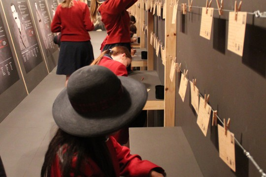 Students explore a State Library exhibition