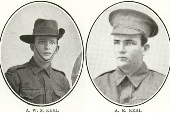Two individual portrait photos side by side of young men in uniform