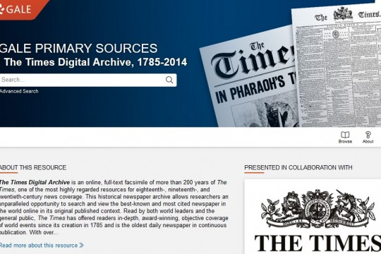 Image of home page of The Times Digital Archive database