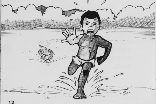 Boy being chased by a crocodile from the childrens book The crocodile by Gregory Omeenyo