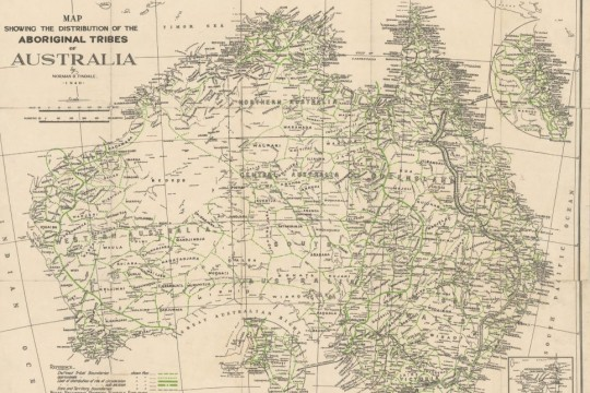 A map of Australia with black and green lines showing Aboriginal communities