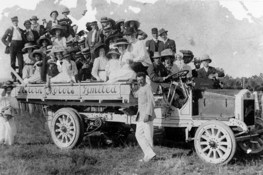 Truck load of people at a social gathering Roma ca 1910