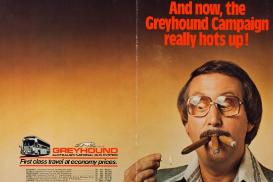 Ugly Dave Gray with 3 cigars ca1970 Greyhound advertisement Ian Poole Collection John Oxley Library SLQ