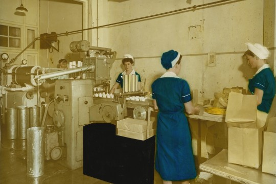Women workers on the production line at Peters Arctic Delicacy Company factory West End Brisbane