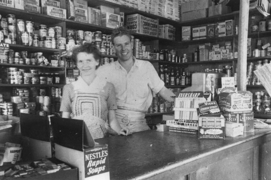 Ray and Babe Melrose inside their shop at Grovely