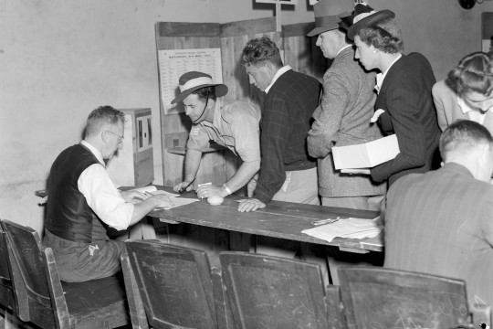 Voting at the Kelvin Grove electorate booth at the City Hall Brisbane 1947