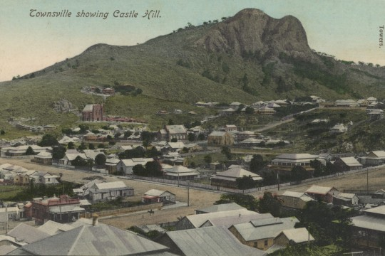 Panoramic view of Townsville showing Castle Hill ca 1905