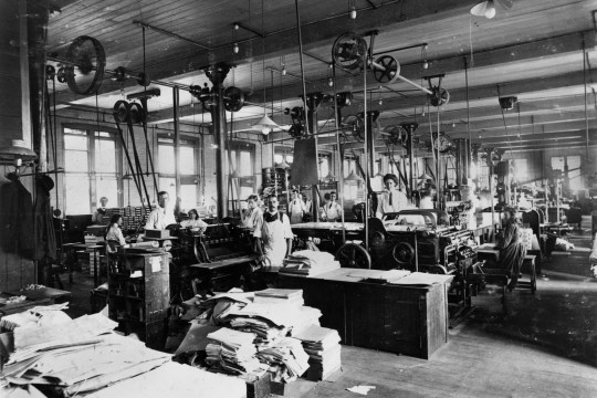 Inside the Government Printing Office Brisbane ca 1912