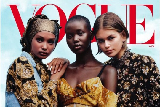 Image of 3 females standing next to each other on cover of Vogue 1 April 2020