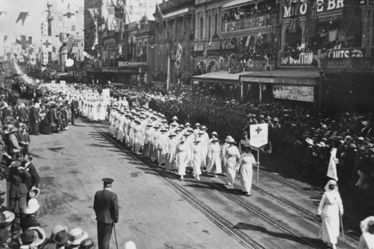 Members of the Red Cross volunteers march in World War 1 Armistice day march in Brisbane 1918