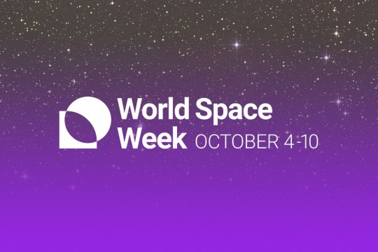 World Space Week logo purple sky filled with stars