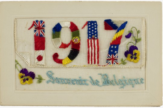 World war 1 souvenir postcard features 1917 embroidered in Allied flags