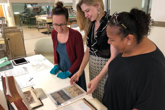 Three SLQ staff looking at photographs