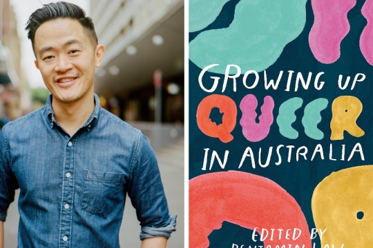 Two images The left is of author Benjamin Law from the waist up he is smiling The right is the book cover of Growing Up Queer in Australia its navy blue with teal pink red and yellow shapes on it