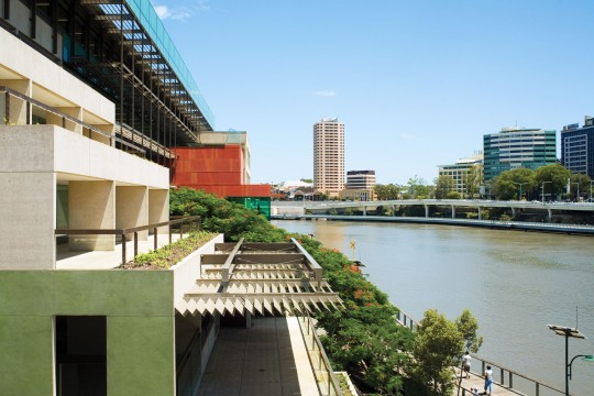 Exterior view of the State Library of Queensland and the Brisbane river