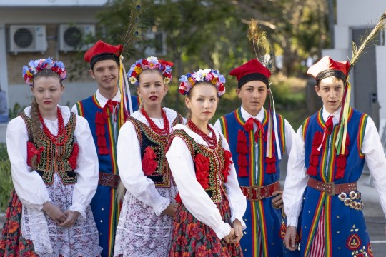 Members of Obertas Polish Folkloric Ensemble waiting to perform Technicolour Multicultural Festival 23 Foster Street Newmarket Brisbane on 24 August 2019