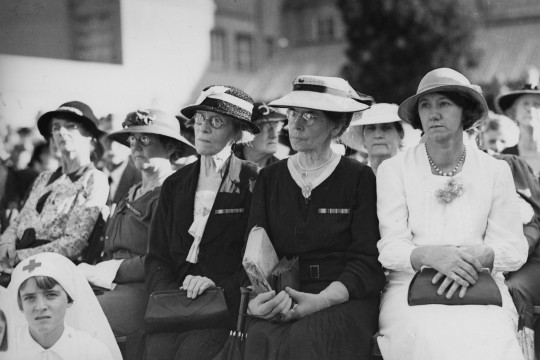 Black and white image of a group of women at the Anzac Day observance Shrine of Remembrance Anzac Square Brisbane 1937