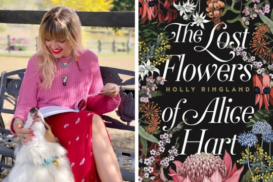 Two images The left is author Holly Ringland with a book open on her lap and petting a dog The right is the book cover of The Lost Flowers of Alice Hart The cover is black with centred white text surrounded by delicate colourful flowers
