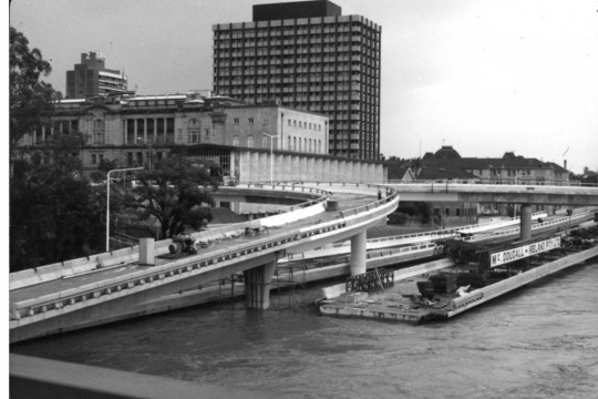 Damage on the Riverside Expressway Brisbane caused by the 1974 flood