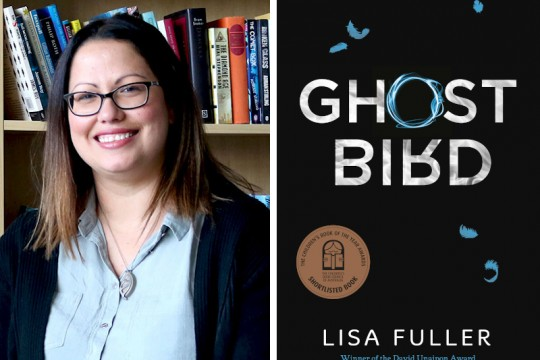 Two images the left is of author Lisa Fuller from the chest up She is wearing glasses and smiling The left is the book cover of Ghost Bird it is black with white text and a few blue feathers