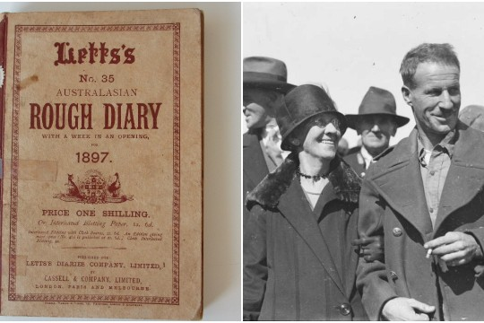 Two images - 1897 diary left and Catherine Kingsford Smith and her son Charles right