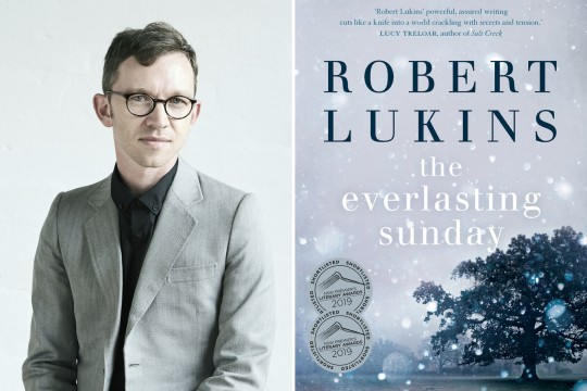 A composite image of Robert Lukins wearing a grey suit and the cover of his novel The Everlasting Sunday