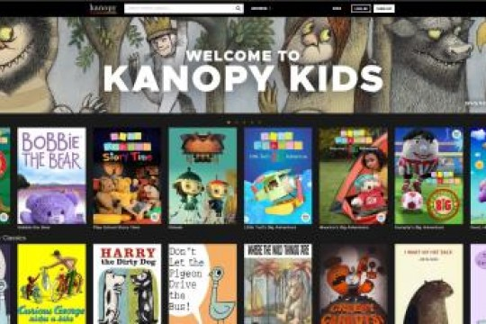 Screenshot of film streaming service Kanopys kids database