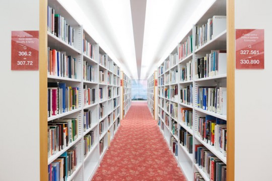 State Library book shelves. Photo by Jeff Camden.