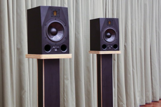 Bespoke speaker stands with speakers