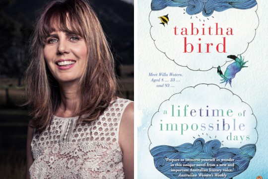 A collage showing a headshot of Tabitha Bird in a white lace dress and a book cover of A Lifetime of Impossible Days